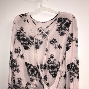 Tops - Baby pink open front blouse